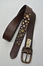 DIESEL Damen Gürtel Ledergürtel Leder Dunkelbraun Nieten Silber Gold Kupfer 90