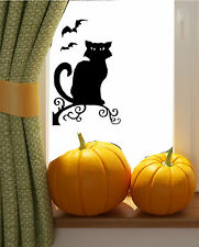 Halloween Spooky Cat & Bats Windows Door Sticker Decals Trick or Treat