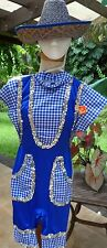 Blue/Wht Checked Country Girl Daisy Duke Costume w/Straw Hat & BackPatches S-M