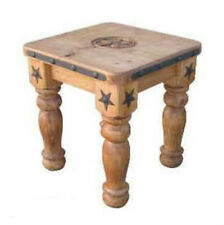 Heavy Iron Detail And Wood End Table With Star Solid Wood Rustic Western Lodge