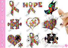 Autism Awareness Ribbon Puzzle Variety Nail Art Decal Sticker Set AUT901