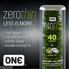 NEW ONE Condoms Zero Condom Thin Discreet Case 40 Count with Carrying Tin Latex