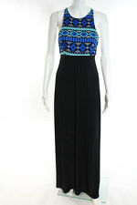 T-Bags Los Angeles Multi-Color Crew Neck Low Open Back Maxi Dress Size Extra Sma