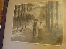 Vintage Framed PHOTO: Victorian Couple walking in woods