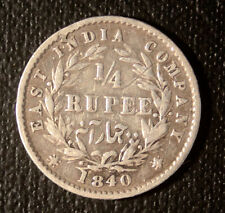 East India Company 1840  1/4 Rupee Queen Victoria cud error coin.