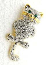 VTG Dual Tone Clear & Green Rhinestone Articulating Cat Brooch Pin