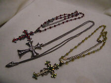 PENDANT ROSARY NECKLACE VCLM LOT CROSS CRYSTAL RHINESTONE IRIDESCENT