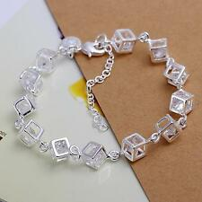 925 Sterling Silver NEW Fashion Woman Box Austrian crystal Bracelet Jewelry H241