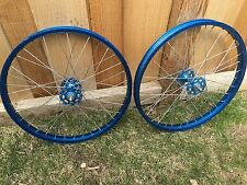 Araya 7L 20 X 1.75 Blue Bmx Wheels Two Fronts Old School 7x 7b Ukai Rim Wheelset