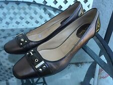 COLE HAAN D32678Brown Bronze Leather Pumps Heels Shoes Sz 10 B