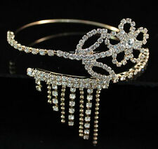 FLOWER CLEAR RHINESTONE BANGLE CRYSTAL UPPER ARM BRACELET WEDDING B061 GOLD