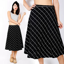 SALE! Vintage Black White Checker High Waist Full Long Dress Maxi Midi Skirt 8