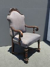 Vintage Spanish Style Carved Wood Barley Twist Light Purple THRONE CHAIR