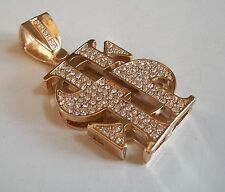 GOLD FINISH  $ SIGN HIP HOP CLEAR BLING RAPPER STYLE FASHION PENDANT