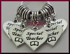 5 Special Teacher Heart Dangle Charm Both Sides Stamped 17 * 30 & 5 mm Hole S101