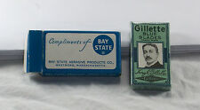 VTG Bay State Abrasive Products NOS Sample 2 Gillette Blue Blades MIB 1940s N
