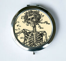 Skeleton and Roses Compact Mirror Pocket Mirror purse anatomy