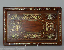 Antique Chinese Mother of Pearl Inlaid Huanghuali Wood Scholars Brush Tray Qing