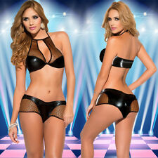 Women Sexy Lingerie Women Cosplay Costumes Black Gridding Imitation Leather Set