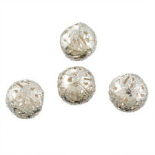 100PCs Silver Plated  Filigree Ball Spacers Beads 10mm