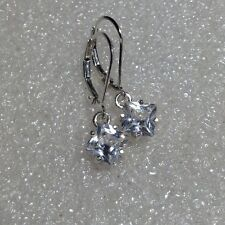 Sterling Silver Princess Cut White Sapphire Dangle Leverback Earrings 2.50CTW