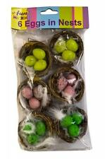 Pack 6 Nests With Coloured Eggs & Feathers Easter Bonnets Cake Decoration 06206