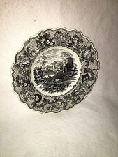 Staffordshire Black Transfer Soup Plate Cambrian Pattern By Phillips Ca. 1835