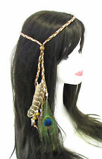 Native American Red Indian Feather Headdress Headband Brown Peacock Festival 833