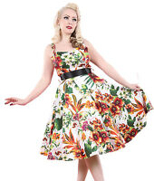 HEARTS & ROSES H&R London 50's TROPICAL FLORAL DRESS