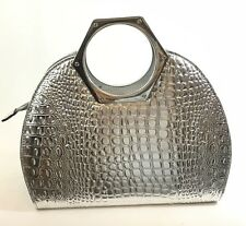 Satchel Croc Mock Patent Handbag Cross Body Purse Silver Elegant Maxime NWT