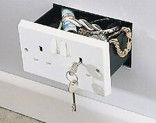 Imitation Double Plug Socket Wall Safe Security Secret Hidden Stash Box 2 Keys