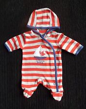 Baby clothes BOY premature/tiny 5lbs/2.3kg redgrey stripe/boat hood all-in-one