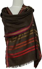 Leichter Schal Streifen Wolle Seide Braun Pink Orange scarf silk wool brown