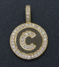 PM37 Created Diamond Round Cut Initial Letter C Pendent .25ct 14K Yellow Gold