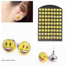 36 Pares Mujer divertidos Emoji sonrisa Pendientes de botón Aretes Earrings Stud