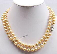 "Long 36"" 8MM Golden South Sea Shell Pearl Gemstones Round Beads Necklace AAA"