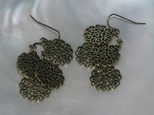 Estate Brass Colored Cut-Out Flowers Layered Medallion Dangle Earrings for