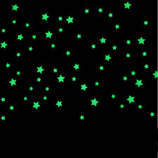 100PC Chilren Bedroom Decals Fluorescent Glow In The Dark Stars Wall Stickers UK