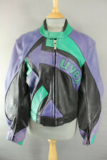 BLACK/PURPLE/GREEN UVEX LEATHER BIKER JACKET WITH REMOVABLE BACK PROTECTOR 40 IN