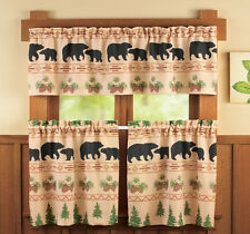 Woodland Bear 3pc Valance Tiers Window INHAND Rustic Primitive Tree Lodge Cabin