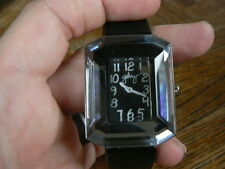Rare Frank Gehry by Fossil Gem Mirror Black Leather Watch GH1014