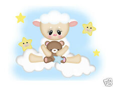 Sheep Lamb Mural Wall Decals Star Moon Barnyard Farm Animals Teddy Bear Stickers