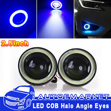 2x Car SUV Angel Eye COB Blue Halo Ring LED DRL Projector Lens Fog Driving Light