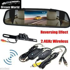 4.3inch Car TFT LCD Monitor Mirror+Wireless Reverse Car Rear View Camera Kit SC