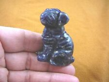 (Y-DOG-SH-714) Blue Gray SHAR PEI Pug sharpei dog dogs FIGURINE carving LOVE