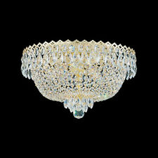 Flush Mount 4-Light Ceiling Fixture Spectra Crystal Gold Chandelier DELUXE 15.5""