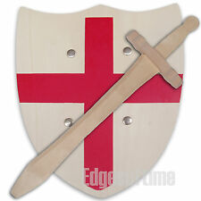 ENGLAND ST GEORGE RED CROSS SHIELD & WOODEN ROLE PLAY TOY SWORD