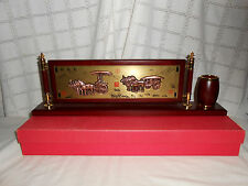 Chinese wood & brass desk top, table calender w/pencil holder in original box
