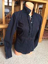 ZARA Navy Blue Ruffle Front Blouse Button Front Bib Front Shirt Women's Medium