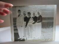 Vtg glass negative photo slide. Black & white. Family portrait 2